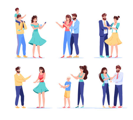 People digital device user character. Loving couple, married husband wife, parent children holding mobile phone for shopping, wireless communication, sharing news. Isolated set on white
