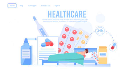 Round-the-clock healthcare service landing page. Medical prescription order, purchase. Free home pills medication delivering. Sick man patient lying in bed surrounded drugs. Health insurance medicine