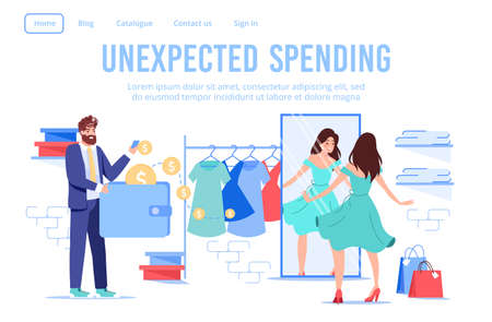 Married couple shopping at female online clothes fashion boutique. Husband paying using e-wallet mobile application on unexpected spending. Wife dressing front of mirror. Wireless payment, credit Ilustración de vector