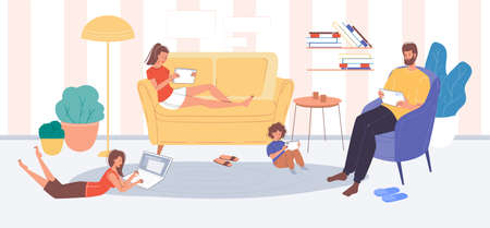 Family member character surfing internet using portable electronics. Mother, father, children online pastime at home. Adults, kids social media networks users. Digital technology addiction problem