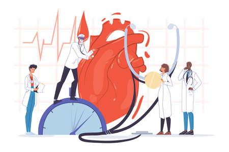 Human heart examination. Doctor cardiologist team in uniform, stethoscope. Cardiogram ecg test conduction. Heartbeat check. Cardiac health. Cardiology, medicine, healthcare.