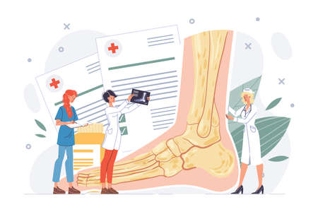 Foot or ankle examination. Lower extremity trauma, pathology illness discomfort or sprain diagnosis, treatment procedure. Podiatrist doctor nurse team. Body healthcare, rehabilitation. Traumatology