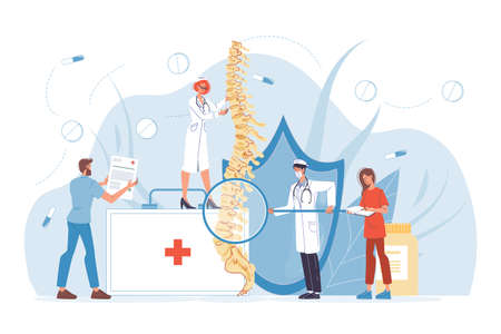 Spine backbone disease diagnostics. Backache, rheumatism, deformity, vertebral inflammation treatment. Skeletal surgeon. Vertebrologist doctor nurse team in uniform examine human vertebra