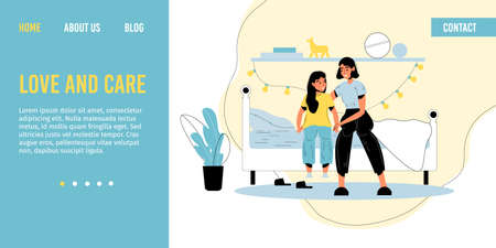 Mother daughter loving relationship. Mom embracing adorable girl child. Woman parent kid having nice conversation before bedtime sitting on bed in cozy bedroom. Happy family. Landing page