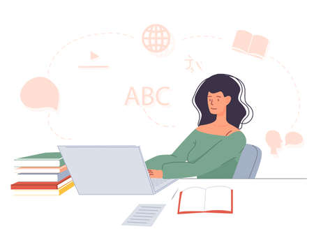 Woman student studying foreign language online on laptop sitting at desk. E-learning, training course, video lecture in virtual class. Remote education. Getting knowledge on internet stay home