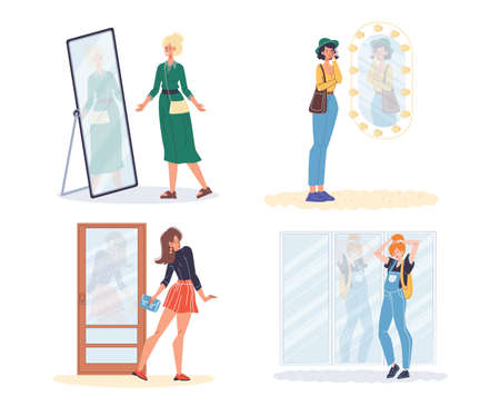 Woman standing at mirror. Narcissist lady looking at reflection. Beautiful female character behavior set. Different age girl viewing trendy outfit. Dress up, self love, self-esteem. Body positive