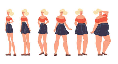 Woman different body form shape change, weight, diet effect. Female figure type set. Girl underweight to extremely obese standing in row. Slim, normal, plus size. Natural beauty, perfection