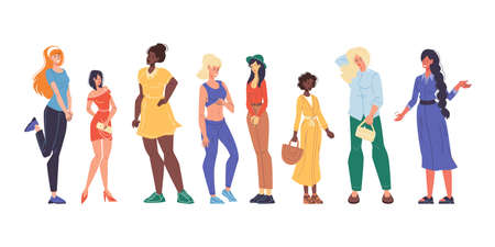 Pretty multiracial woman different physique, nationality, appearance set. Lady having variety height, weight, figure type and size dressed in casual clothes. Body positive movement. Beauty diversity