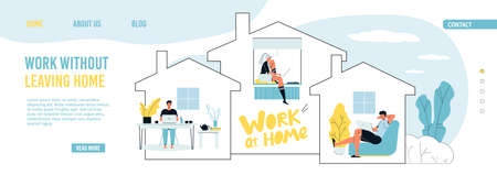 Remote work, freelance occupation. Stay home under protect to avoid infection, to prevent virus spread. People coworking from laptop sitting at house keeping distance. Landing page design