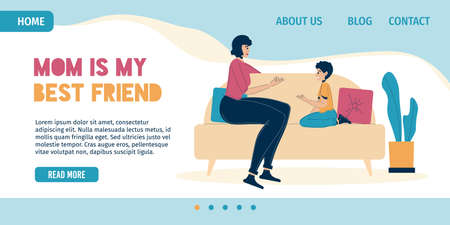 Mother best friend for child landing page. Mom talking expressing love, care to son. Happy family sitting on sofa at home.