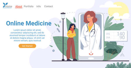 Online medicine affordable on smartphone landing page design. Sick woman patient suffering from fever getting test result from doctor on mobile phone screen. Illusztráció