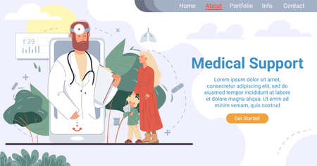 Online pediatrician medical support landing page. Healthcare family doctor service. Mother showing sick child suffering from runny nose to specialist on mobile phone screen.