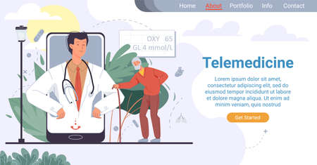 Telemedicine for elderly people. Online healthcare service for old patient. Medical landing page. Senior man asked doctor for help, listening to test result from therapist on mobile screen Ilustrace