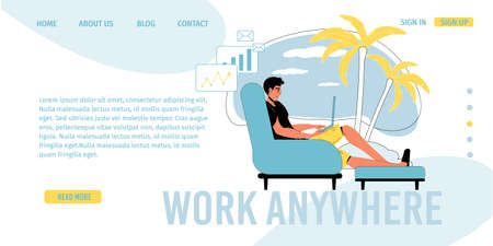 Work anywhere. Online modern communication technology. Man working on internet via laptop resting on tropical beach. Freelance, social media. 向量圖像