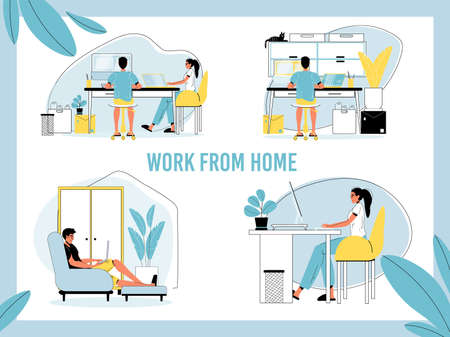 Work from home set. Man, woman freelancer, self-employed person working online from laptop, computer at domestic office. Remote job opportunity, distance work occupation. Illustration