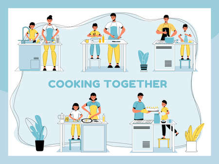 Cooking together set. Home food preparation. Happy cheerful family common activity. People lifestyle concept. Parent children boiling soup, cutting vegetable for salad, frying egg, baking pie