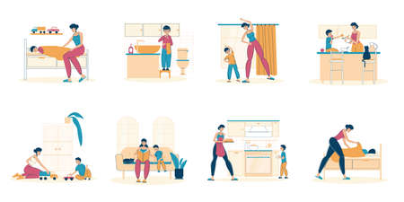 Mother son recreation, spending time together, schedule routine. Mom taking care of child, playing, cooking, reading, feeding, doing physical exercise. Daily life scene from morning to evening set