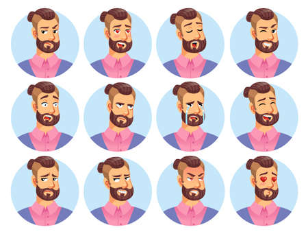 Hipster man character avatar emoticon set. Winking, yawning, frowning, falling in love, surprised, shocked, crying, distrustful, angry, cunning, smiling male facial positive negative emotion set