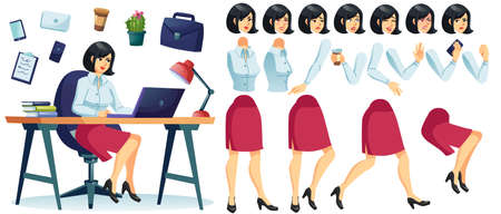 Businesswoman character sitting at desk table working on laptop. Working lady boss animation set. Body part gesture, facial emotion, stationary kit for attractive office worker, secretary creation