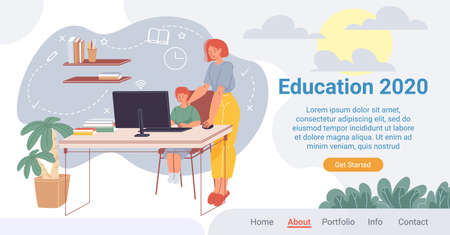 Innovative online education process landing page. New approach to teaching. Learning in comfortable condition. Home schooling plan at year. E-learning, distant graduation. Mother son study on internet Vecteurs