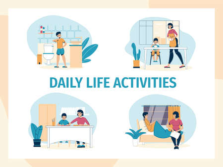 Mother son daily life family activity at home set. Loving mom adorable son pastime. Woman cooking breakfast feeding child, teaching, reading book fairytale to kid in evening. Happy parenting