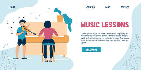 Music lesson landing page. Woman or mother teaching son child indoor. Boy playing violin, female character accompany on piano in classroom. Children hobby, creativity. Home family concert