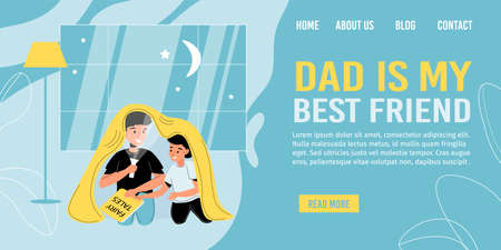 Father son spending time together. Dad reading book fairy tale to child under blanket in evening using flashlight indoors. Happy parenting. Family bonding, love, care. Landing page design
