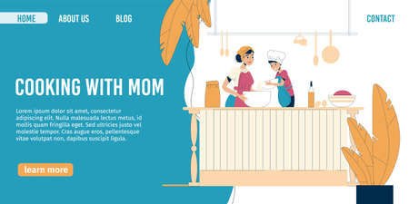 Happy mother child cooking together at home kitchen. Parent kid preparing homemade meal for dinner. Mom son or daughter mixing flour in dish bowl for baking pie or cake. Landing page design 向量圖像