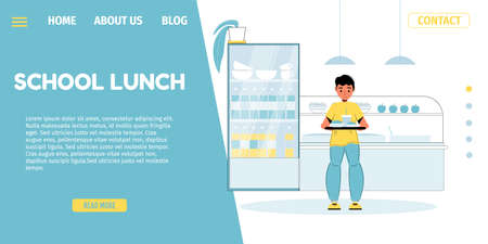 School lunch program. Balanced kids nutrition. Little boy pupil holding fresh healthy food on tray standing at canteen room. Cafeteria for children offering proper meal. Landing page design 矢量图像