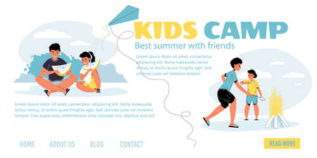 Kid summer camp in forest advertising landing page. Little boy girl friend rest on picnic outdoor eating watermelon fry marshmallow on campfire. Happy childhood, active recreation, interesting pastime