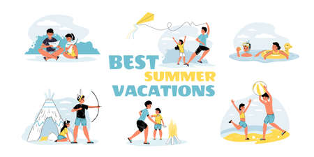 Elder brother younger sister enjoy best summer vacation. Children rest outdoor. Recreation on beach, in park or forest on fresh air. Healthy active lifestyle. Summertime leisure. Family scene set