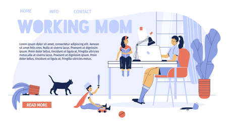 Busy working mother problem landing page design. Sad children missing for loving mom. Woman using laptop for earning money online, e-business development. Motherhood, freelance work concept