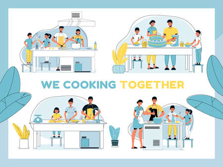 We cooking together set. Parent children preparing dinner, breakfast or lunch, making festive cake at home kitchen. Family bonding, best culinary team. Domestic life, leisure activity, daily routine