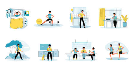 Young schoolboy daily life schedule routine activity scene set. Boy doing workout, brushing teeth, eating breakfast, going to school, studying, communicating playing friend. Child education recreation