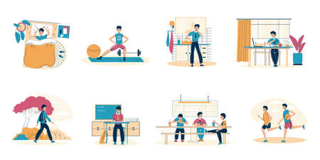 Schoolboy everyday healthy schedule. Good sleeping, active morning workout and evening sport with friends, daily hygiene procedure, proper nutrition on breakfast and dinner. Isolated scene set