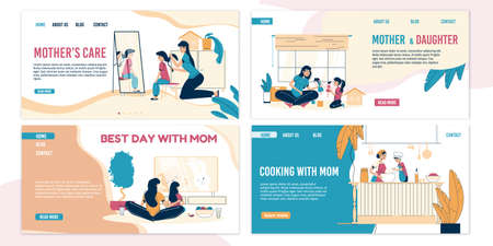 Mother child care love. Parent kid best recreation time. Everyday together. Mom son or daughter, spending pastime, cooking, playing at home. Stay home motivation landing page template set