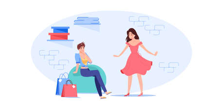 Vector cartoon flat woman characters trying new dress outfit.Happy girl at fashion shop fitting room posing in fashionable dress in front of girlfriend-clothing store,web site banner ad concept Vetores