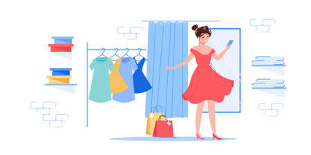 Vector cartoon flat woman character trying new dress outfit. Happy girl customer at fashion shop fitting room wear beautiful trendy dress.