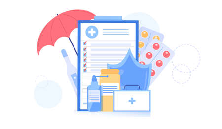Vector cartoon flat health insurance policy contract,different medication drugs,pills and medical devices-health care treatment,online telemedicine,web site banner ad concept Stock Illustratie