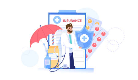 Vector cartoon flat doctor character offers health insurance.Physician specialist presenting,holding insurance policy contract-medical care treatment,online telemedicine. Stock Illustratie