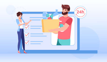 Vector cartoon flat characters give,receive online orders buys.Delivery service workflow-happy customer accept ordered goods from courier on mobile app screen-online shop.