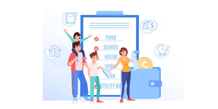 Vector cartoon flat happy family characters buy goods.Parents and kids use grocery shopping list for buying products-money saving,family budget management,web site banner ad concept design