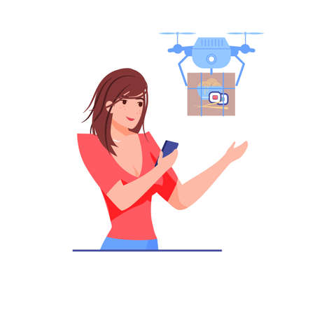 Vector cartoon flat girl character receive online order buys from delivery drone. Modern delivery service-quadcopter delivers ordered package to happy customer-online shop.