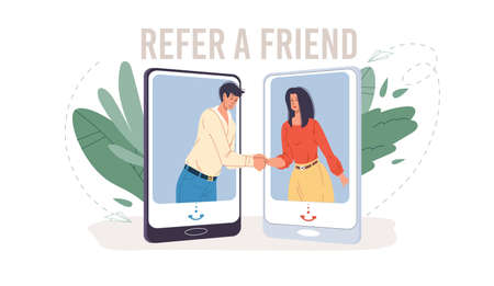 Cartoon flat characters get acquainted in refer a friend service.Happy young people shaking hands in mobile phone app-referral program,communication,friendship,web site banner ad,social media concept