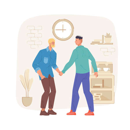 Cartoon flat characters friends shaking hands,happy greeting each other,rejoice,get acquainted at home interior.