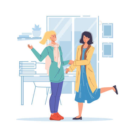 Cartoon flat characters friends shaking hands,happy greeting each other,rejoice,get acquainted at home interior-. Vector Illustratie