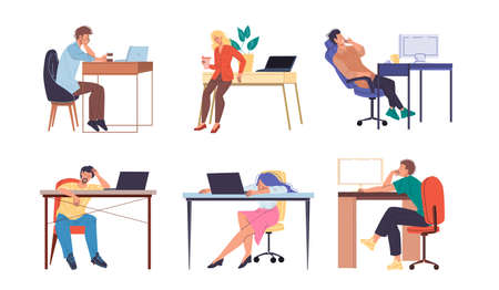 Cartoon flat characters hardworking office workers busy employees,stressed and tired at office interior. Hard workflow of business people concept