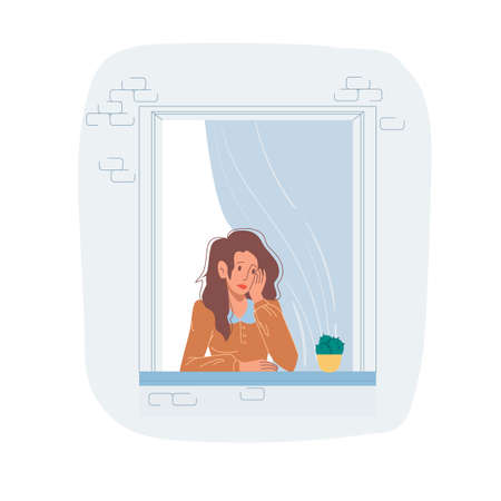 Vector cartoon flat woman character looks sad in house window.Young girl in melancholy mood - emotions, lifestyles, communication and friendship social concept