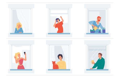 Set of vector cartoon flat characters doing different things in house windows. various poses and emotions, lifestyles, communication and friendship social concept
