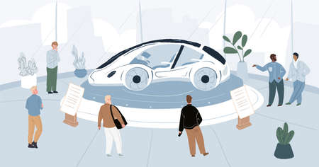 Vector cartoon flat characters-exhibitors and visitors at car motor show expo conference.Exhibition staff,enthusiasts and guests at auto stand with new model concept car